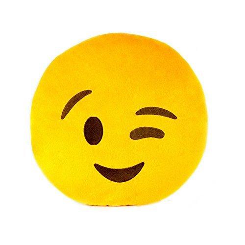 YSTD Cute 32cm Emoji Smiley Emoticon Yellow Round Cushion Pillow Stuffed Plush Soft Toy Doll Wink