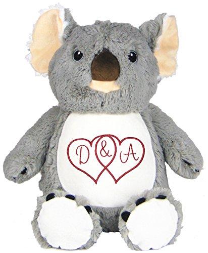 Personalized Stuffed Koala with Embroidered Interlocked Hearts