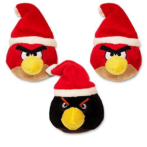 Angry Birds Plush Toys -- Set of 3 Angry Birds Christmas Ornaments Red Bird Black Bird