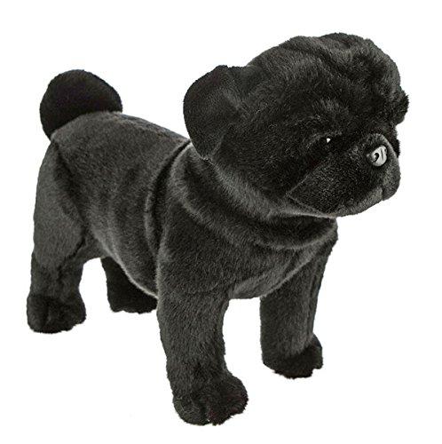 Bocchetta Plush Toys Pug Dog Standing Stuffed Animal Plush Toy - Midnight Medium Black