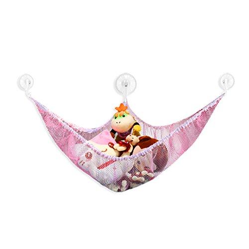 Giveme5 Stuffed Plush Animal Toy Organizer Hammock Storage Pet Net Mesh in Kids Room 70x47x47 Pink