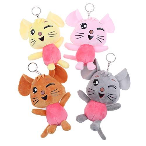 Eshylala 4 Pack 2020 Chinese Rat Year Rat Mascot Plush Toy Stuffed Rat Animal Dolls Keychain Pendant 11cm