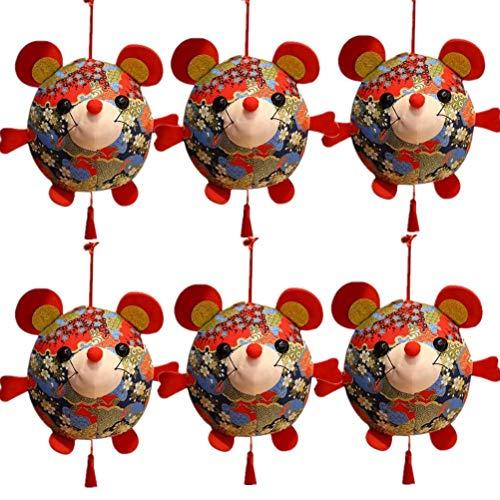 Eshylala 6 Pack 2020 Chinese Rat Year Rat Mascot Plush Toy Red Chinese Knot Mouse Pendant Chinese Zodiac Rat Decoration Pendants