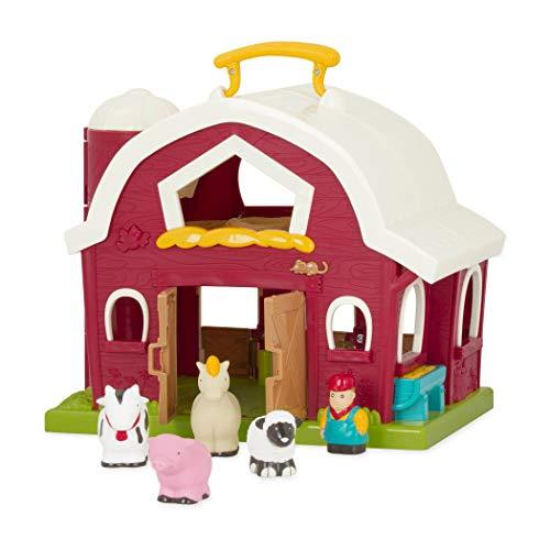 Battat - Big Red Barn - Animal Farm Playset for Toddlers 18m 6 Pieces Renewed