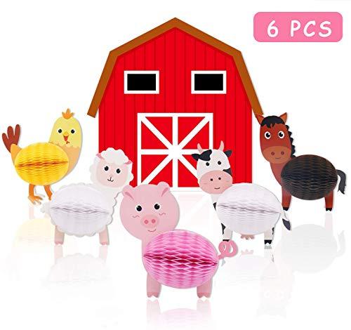 Farm Animal Party Centerpiece Table Decorations Baby Shower Birthday Barnyard Backdrop 3D Farmhouse Barn and Honeycomb Supplies