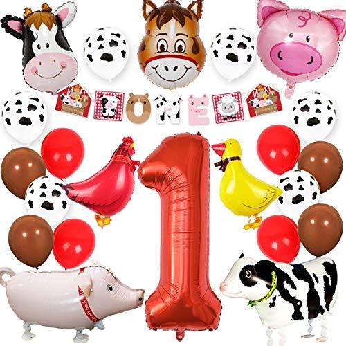 Kreatwow Farm Animal 1st Birthday Party Supplies Decorations Animal Mylar Balloons One Banner for Barnyard First Birthday Decor