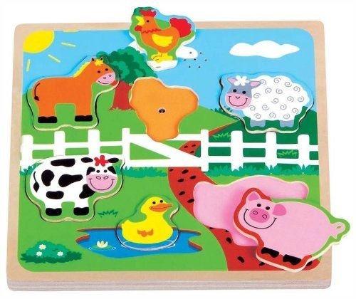Lelin Wooden Farm Animals Peg Puzzle by LELIN