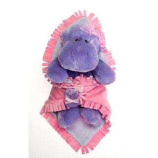 11 Hippo Hippopotamus Purple Pink Blanket Babies Plush Stuffed Animal Toy by Fiesta Toys