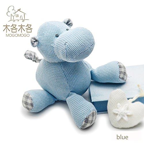 MOGOMOGO Blue 19 cm cute stuffed hippo dolltoy 100 hand-made