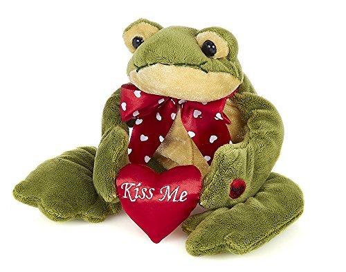 Bearington Charming Valentines Plush Stuffed Animal Kissing Frog with Heart 10