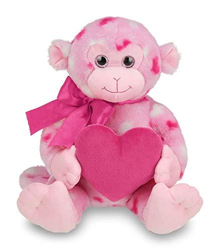 Bearington Lovie Louie Valentines Plush Stuffed Animal Monkey with Hearts 11 inches