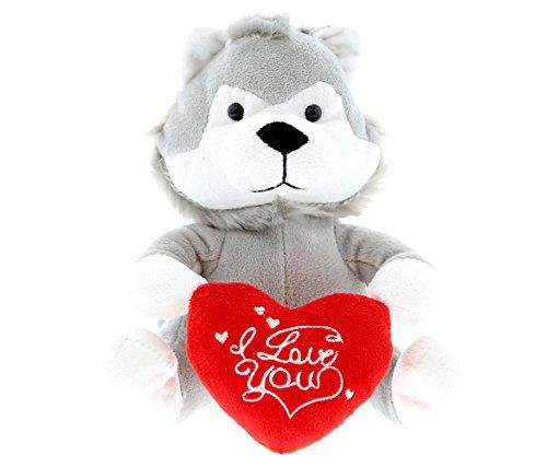 Dollibu Grey Wolf I Love You Valentines Stuffed Animal - Heart Message - 6 inch - Super Soft Plush - Item K5138-5999
