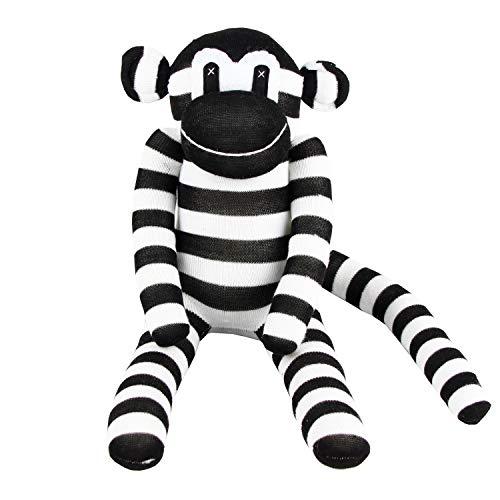 Handmade Black White Striped Traditional Sock Monkey Doll Baby Gift Toy