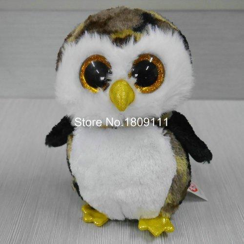 IN HAND NEW TY BEANIES BABIES BOOS STUFFED ANIMAL BIG EYES Glitter eyes~Owliver owl no heart tag ~6Cute Plush doll