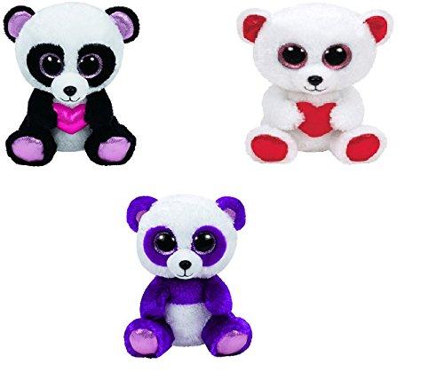 Ty Cuddly Cutie Pie Boom Boom Bears Set of 3 Beanie Boos Stuffed Animal Plush Toy
