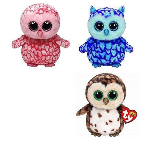 Ty Pinky Oscar Sammy Owls Set of 3 Beanie Boos Stuffed Animal Plush Toy