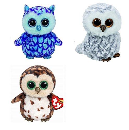 Ty Pinky Owlette Sammy Owls Set of 3 Beanie Boos Stuffed Animal Plush Toy