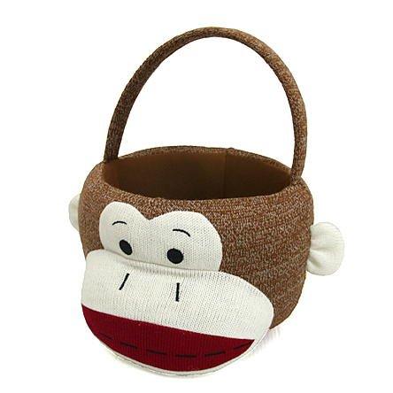 Sock Monkey Plush Easter or Halloween Basket - Brown