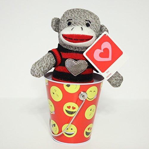 Valentines Day Gift Set Sock monkey plush in tin bucket