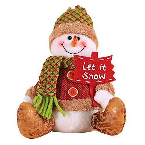 Uscyo Plush Toy Christmas Plush Deco Doll Puppet Elk Snowman Santa Claus Christmas Party Gift for Kids Desktop Decorations 20 15cm