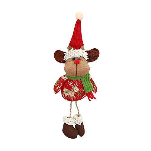 WYKsoku Christmas Tree Ornament Sets Xmas Plush Dolls for Decoration SnowmanSanta ClausReindeer Toy Doll Hanging Decor Gift Reindeer