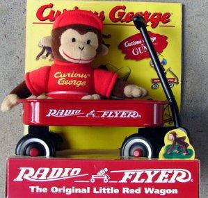 1998 Gund Curious George Monkey Radio Flyer Wagon Set