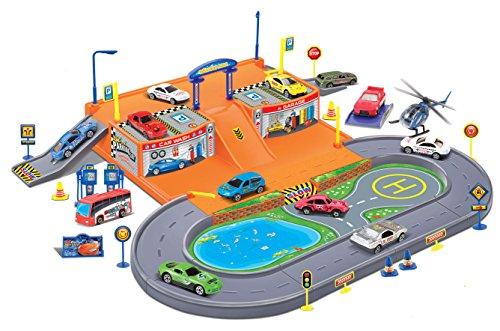 Super Parking Garage Diecast Racing Playset - 4 Metal Vehicles