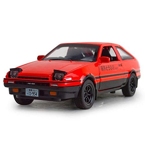 Model Car Sport Scale 128 Initial D Toyota Trueno AE86 Diecast Model Car Toy Sound&Light Kids Gift Red