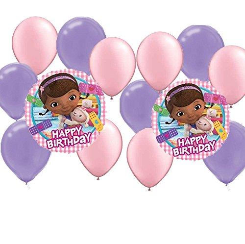 14 pc Doc Mc Stuffins Party Balloons Kit 2 Mylar 6 Pink Latex 6 Purple Latex