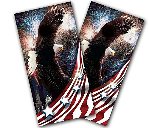 CORNHOLE WRAPS Vinyl Decals Stickers Game Board Wrap Set ~ AMERICAN USA BALD EAGLE