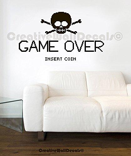 Vinyl Wall Decal Sticker GAME OVER gamer kids room skull bones bedroom r1764