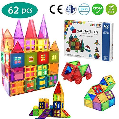 BO WEI Magnet Toys - 62 pcs 3D Magnetic Building Blocks Set STEM Magnetic Tiles Educational Toys for Toddlers  Creativity Imagination Inspiration