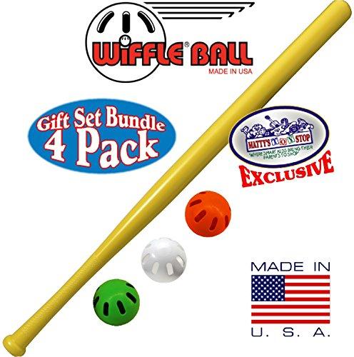 Wiffle 32 Bat Green Orange White Baseballs Mattys Toy Stop Exclusive Gift Set Bundle - 4 Pack