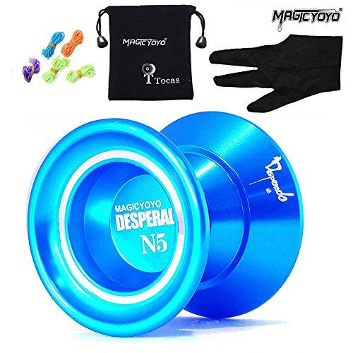 MAGICYOYO N5 Desperado Unresponsive Yoyo Professional Yo-Yos Balls with 5 Strings  Gloves and Yoyo Bag Blue