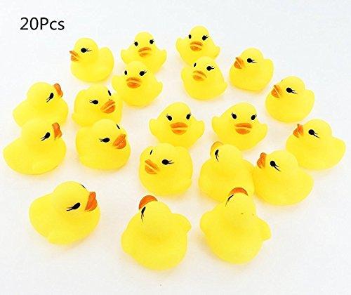 LiangTing 20 Pack Mini Rubber Bath Ducks- Baby Bath Toy  Yellow