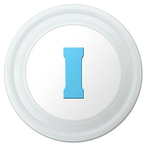 Letter I Initial Baby Boy Block Font Blue Shower Novelty 9 Flying Disc