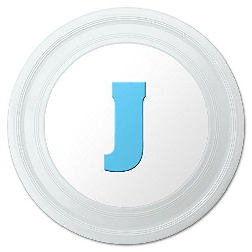 Letter J Initial Baby Boy Block Font Blue Shower Novelty 9 Flying Disc