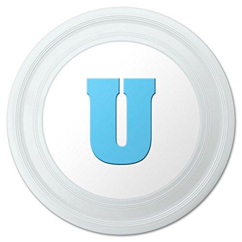 Letter U Initial Baby Boy Block Font Blue Shower Novelty 9 Flying Disc