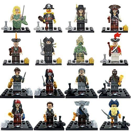 16 Piece Set Size 45 cm Pirates of the Caribbean Mermaid Jack Captain Figures BuildingBlocks New in plastic bag