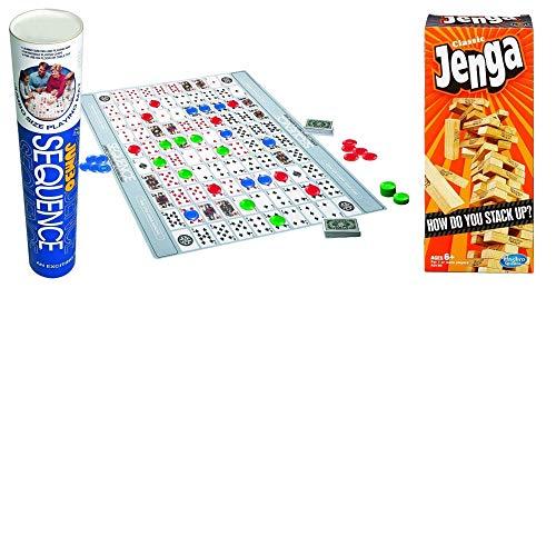 JGT Games Kids Adults Family Game Night Fun 1 Classic Jenga Block Game 1 Jumbo Sequence Game Tube - Bundle of 2