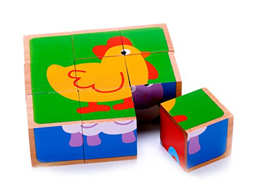 Wooden Farm Animal Cube Block Puzzle for Kids  5 Puzzles in One  Educational Toy 2 Year Olds Up