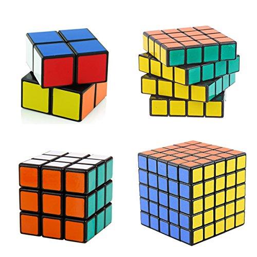 D-FantiX Shengshou Speed Cube 2x2 3x3 4x4 5x5 Bundle Magic Cube Puzzle Toy Set of 4 Black
