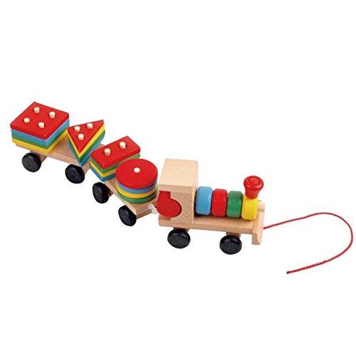 Kids Baby Developmental ToysBuedvo Wooden Train Truck Set Geometric Blocks