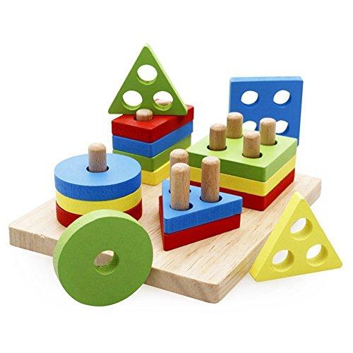 Lanlan Kids Wooden Geometric Stacking Column Building Block Educational Toys Edge Smooth No Burr